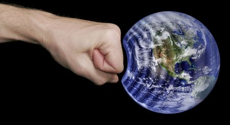 Fist Hitting The Earth, Caucasian Skin Tone, Black Background Stock Photo - 2517331