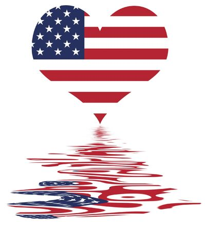 Love The Usa Heart And Us Flag National Symbol Of The United