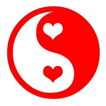 ying yang: Asian Yin Yang Symbol In Red With Hearts