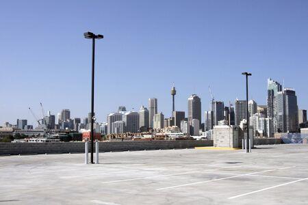 Urban Carpark, Sydney City Skyline On A Summer Day, Cityscape, Australia Stock Photo