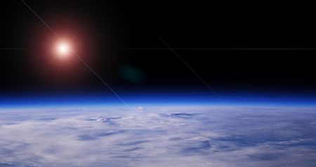 Blue Planet And Red Star, Low Orbit Space View, Background Stock Photo - 2548871