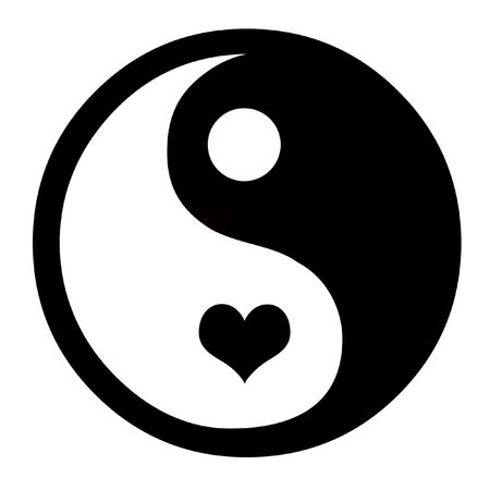 Asian Yin Yang Symbol With Heart, Coceptual Background photo