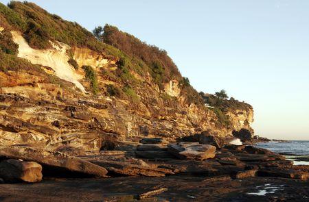 steep cliffs: Steep Cliffs At The Sydney Coast In Golden Morning Light, Australia