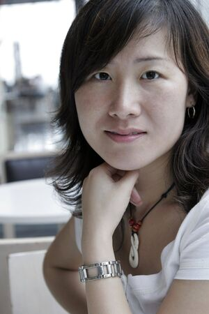 Young Beautiful Asian Woman, Long Black Hair, Window Light Stock Photo - 2548902