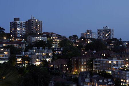 Residential Suburb At Night, Urban Buildings, Australia photo