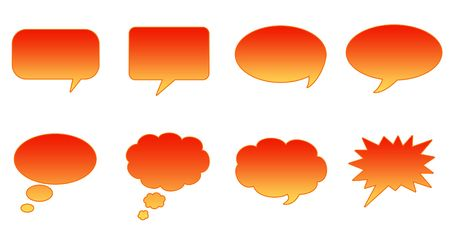 interact: Set Glossy Colourful Speech BubbIe Icons, Internet Web Page Navigation Symbols Stock Photo