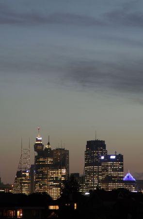 Sydney City Skyline At Sunset, Clouds, Urban Buildings, Australia Stock Photo - 2574331