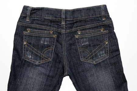 denim background: Close-Up Of Blue Jeans Back - Denim Background Stock Photo