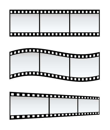 negativity: Three 35mm Film Strips In Different Shapes, White Background