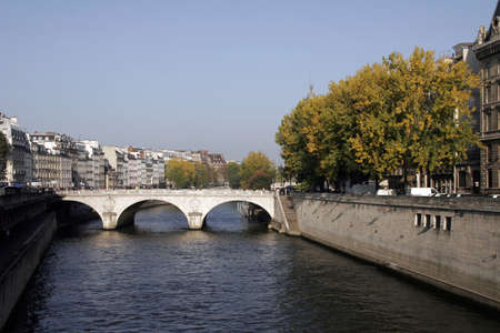 river bank: Seine River Bank, Paris On A Clear Sunny Day