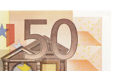 ec: Details Of A Fifty Euro Note, White Background Stock Photo