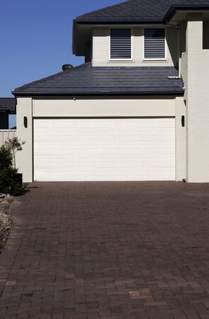 Modern Town House, Garage Door In A Sydney Suburb On A Summer Day, Australia