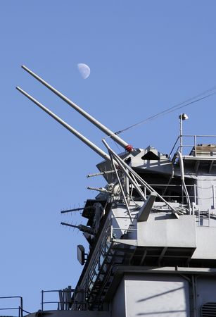 battleship: Guns Of A Military Battleship, Moon In The Clear Blue Sky