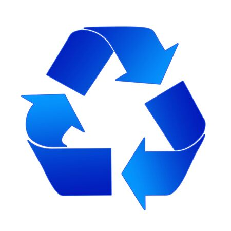 utilization: Recycling Sign In Light And Dark Blue On A White Background