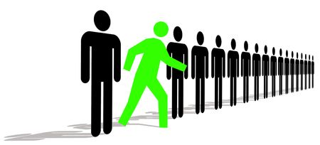 standing out: Green Man Standing Out In A Line Of Black Men