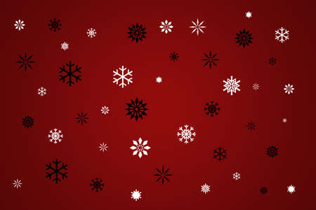Black And White Snowflakes On Red, Winter Snow Background photo