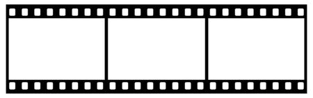 Film Strip With Three Frames, 35mm Format, White Background