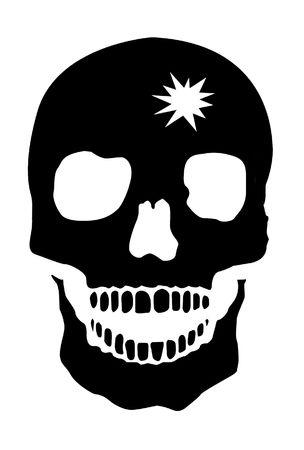 gunshot: Human Skull With Gunshot Hole, White Background Stock Photo
