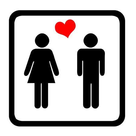 Women's And Men's Toilets Sign With Red Heart Stock Photo - 2689238
