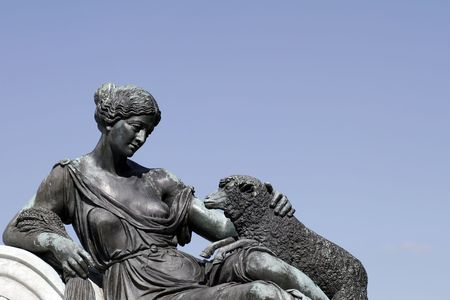 governor: Female With Sheep - Part Of Governor Phillip Fountain In Sydney, Royal Botanic Gardens, Australia Stock Photo