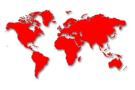 World Map - Red Continents With Shadows On White Background Stock Photo - 2706824