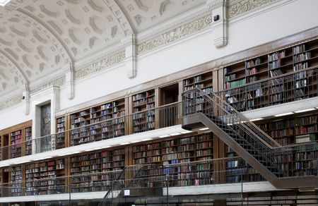 Many Books In  Large Bookcases, Public Library Interior