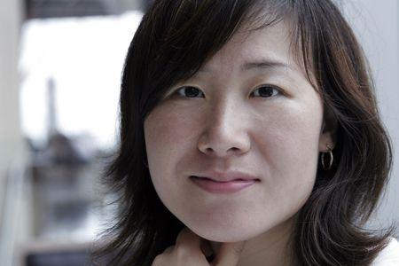 window light: Young Beautiful Asian Woman, Long Black Hair, Window Light