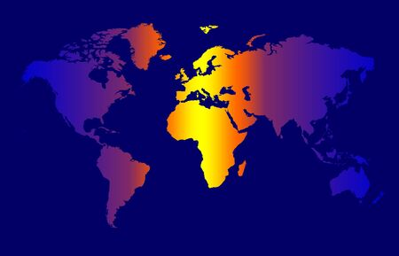 World Map - Colour Time Zone Concept, Dark Background Stock Photo - 2735051