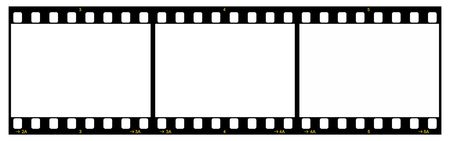 negativity: Film Strip With Three Frames, 35mm Format, Yellow Numbers, White Background