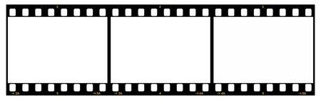 Tira de la película con tres marcos, Formato de 35mm, amarillo Números, fondo blanco