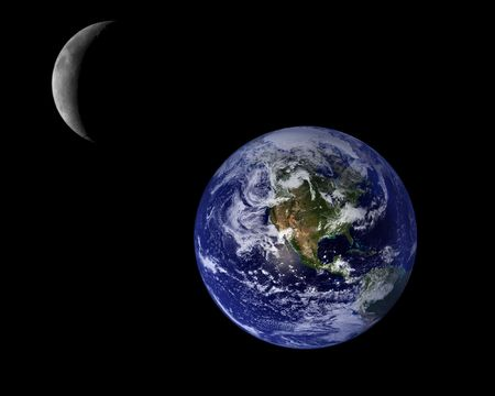 crescent moon: Blue Planet Earth And Crescent Moon, Space Background