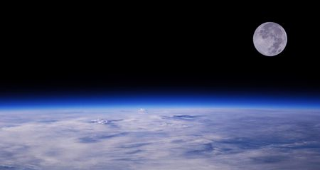 Blue Planet Earth And Full Moon, Low Orbit Space View, Background Stock Photo - 2735047