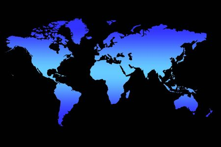World Map Background, Blue Gradient Continents On Black Stock Photo - 2735126
