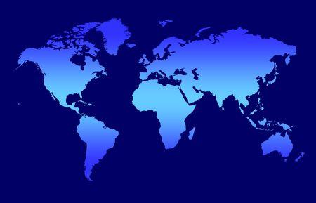 virtual world: World Map - Blue Gradient Continents On Dark Background