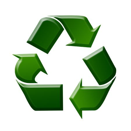 dispose: Green Recycling Sign  Symbol Illustration, White Background