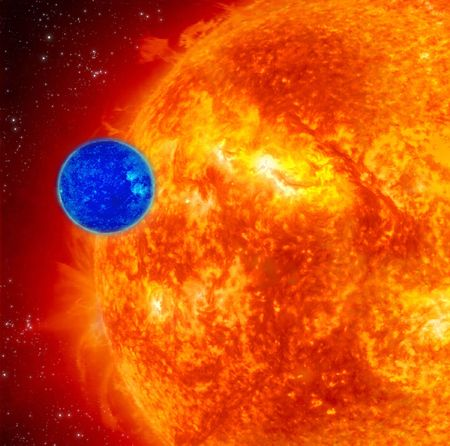 inconvenient: Small Blue Planet And Large Red Sun, Space Background Stock Photo