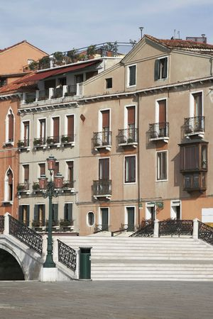 Venice, Italy - Little Bridge, Old Building Facade, Public Square Stock Photo - 2827732
