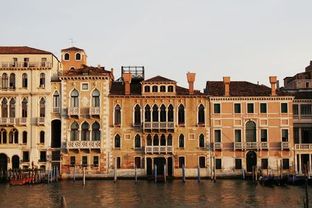 Venice, Italy - Typical Old Building Water Front Facade And Canal