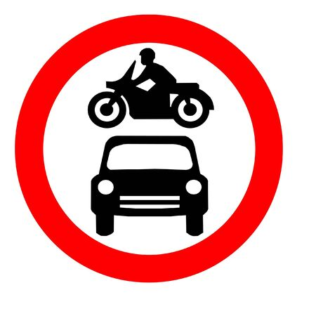 Round Traffic Sign With A Car And Motorbike Stock Photo - 2814746