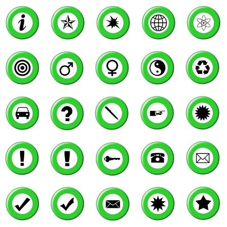 Set Of Green Control Buttons Icons, Internet Web Page Navigation Symbols photo