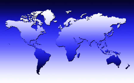 World Map With Small Shadow On A Blue Gradient Background Stock Photo - 2858866