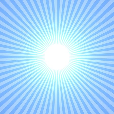 Blue Sun Abstract, Rays Shine From A Bright Center, Illustration Background