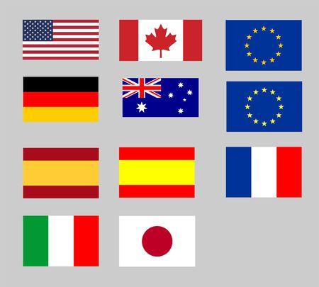 bandera japon: Colecci�n de diversos pabellones internacionales - la UE, EE.UU., Jap�n  Foto de archivo