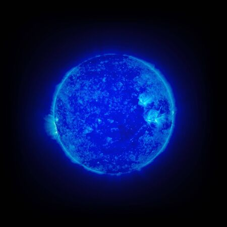 Glowing Blue Planet On A Dark Black Space Background photo