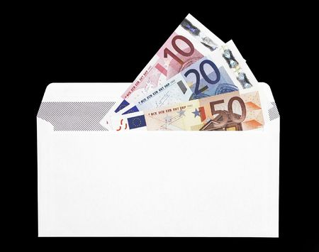Money Gift, Envelope With A Ten, Twenty And Fifty Euro Note photo