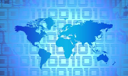 0 geography: Binary World - Global Technology Concept In Blue