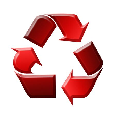 utilize: Red Recycling Sign  Symbol Illustration, White Background Stock Photo