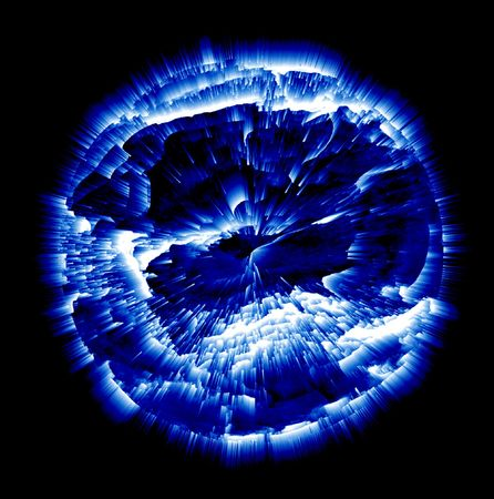 Exploding Planet, Blue And White On Black Background Stock Photo - 2921152