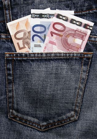 pocket money: Pocket Money In Blue Jeans - Ten, Twenty And Fifty Euro Note Stock Photo