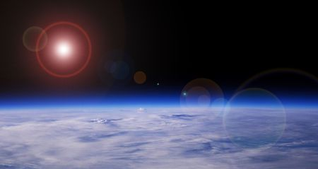 Blue Planet And Red Star, Low Orbit Space View, Background Stock Photo - 2939656